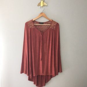 POL Boho Crochet High Low Tunic